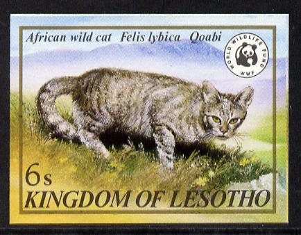 Lesotho 1981 WWF - Wild Cat 6s value imperf single unmounted mint as SG 468