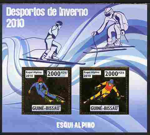 Guinea - Bissau 2010 Winter Olympic Sports - Alpine Skiing perf sheetlet containing 2 values in gold unmounted mint