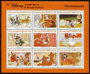 Grenada - Grenadines 1988 Disney Animal Cartoon Films - The Aristocats perf sheetlet containing 9 values unmounted mint, as SG 1003-11