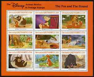 Grenada - Grenadines 1988 Disney Animal Cartoon Films - The Fox & The Hound perf sheetlet containing 9 values unmounted mint, as SG 1012-20, stamps on disney, stamps on cartoons, stamps on films, stamps on cinema, stamps on owls, stamps on  fox , stamps on foxes, stamps on
