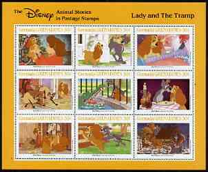 Grenada - Grenadines 1988 Disney Animal Cartoon Films - The Lady & The Tramp perf sheetlet containing 9 values unmounted mint, as SG 994-1002
