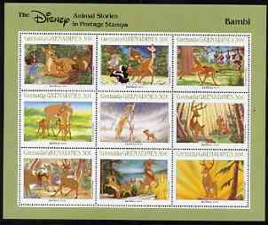 Grenada - Grenadines 1988 Disney Animal Cartoon Films - Bambi perf sheetlet containing 9 values unmounted mint, as SG 976-84
