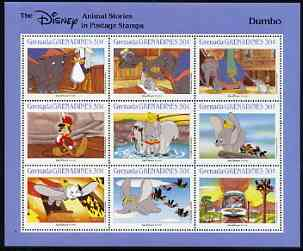Grenada - Grenadines 1988 Disney Animal Cartoon Films - Dumbo perf sheetlet containing 9 values unmounted mint, as SG 985-93