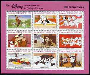 Grenada - Grenadines 1988 Disney Animal Cartoon Films - 101 Dalmations perf sheetlet containing 9 values unmounted mint, as SG 1021-29