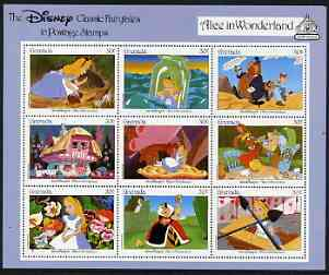 Grenada 1987 50th Anniversary of First Disney Full-length Cartoon Films - Alice in Wonderland perf sheetlet containing 9 values unmounted mint, as SG 1653-61
