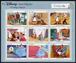 Grenada 1987 50th Anniversary of First Disney Full-length Cartoon Films - Cinderella perf sheetlet containing 9 values unmounted mint, as SG 1662-70