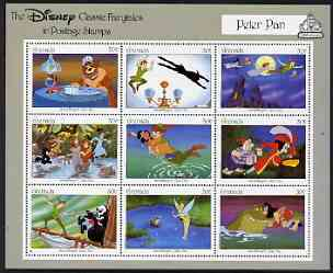 Grenada 1987 50th Anniversary of First Disney Full-length Cartoon Films - Peter Pan perf sheetlet containing 9 values unmounted mint, as SG 1671-79