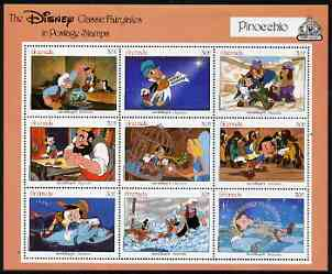 Grenada 1987 50th Anniversary of First Disney Full-length Cartoon Films - Pinocchio perf sheetlet containing 9 values unmounted mint, as SG 1680-88