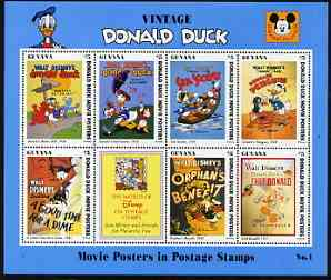 Guyana 1994 Disney's Vintage Donald Duck Movie Posters #1 (incl Golf) perf sheetlet containing 7 x $5 values unmounted mint, similar to SG 3728-35