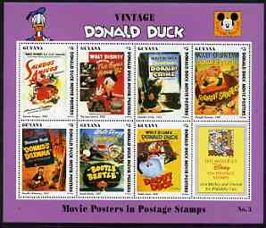 Guyana 1994 Disney's Vintage Donald Duck Movie Posters #3 (incl Eyes) perf sheetlet containing 7 x $5 values unmounted mint, similar to SG 3744-51