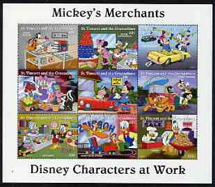 St Vincent - Grenadines 1995 Disney Characters at Work - Mickey's Merchants perf sheetlet containing 9 x 10c values unmounted mint