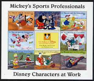 St Vincent - Grenadines 1996 Disney Characters at Work - Mickey's Sports Professionals perf sheetlet containing 8 x 10c values unmounted mint