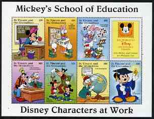St Vincent - Grenadines 1996 Disney Characters at Work - Mickey's School of Education perf sheetlet containing 7 x 10c values unmounted mint