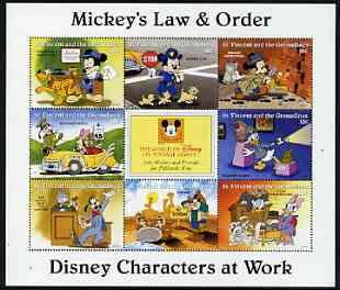 St Vincent - Grenadines 1996 Disney Characters at Work - Mickey's Law & Order perf sheetlet containing 8 x 10c values unmounted mint