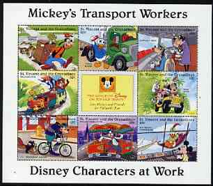 St Vincent - Grenadines 1996 Disney Characters at Work - Mickey's Transport Workers perf sheetlet containing 8 x 10c values unmounted mint