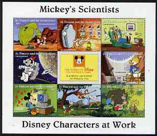 St Vincent - Grenadines 1996 Disney Characters at Work - Mickey's Scientists perf sheetlet containing 8 x 10c values unmounted mint