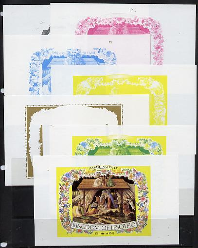 Lesotho 1981 Botticelli's Nativity m/sheet the set of 7 imperf progressive proofs comprising the 5 individual colours plus 2 different combination composites unmounted mint, extremely rare