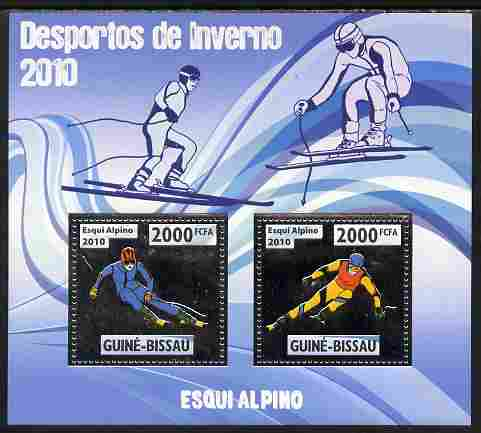 Guinea - Bissau 2010 Winter Olympic Sports - Alpine Skiingg perf sheetlet containing 2 values in silver unmounted mint
