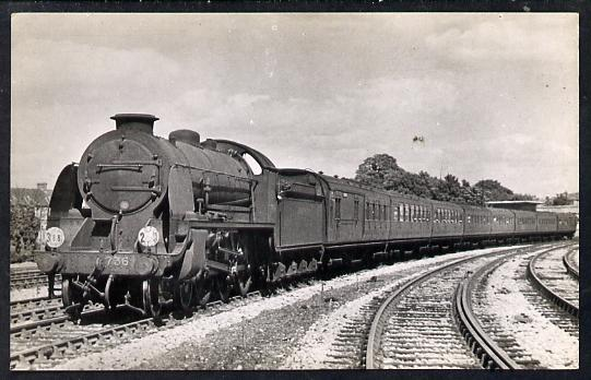 Postcard by Ian Allan - SR Bournmouth to Waterloo express hauled by King Arthur Class 4-6-0 No.736 Excalibur, black & white, unused and in good condition