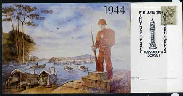 Postcard - Great Britain 1984 D-Day Invasion (Weymouth PO Mural) postcard (SWPR 23) used with special illustrated Weymouth 'Clock' first day of sale cancel