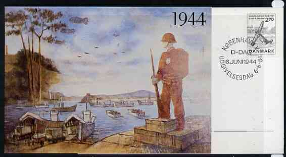 Postcard - Great Britain 1984 D-Day Invasion (Weymouth PO Mural) postcard (SWPR 23) used bearing Denmark 'Anchor' stamp with special K�benhavn D-Dag first day of sale cancel