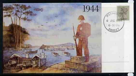 Postcard - Great Britain 1984 D-Day Invasion (Weymouth PO Mural) postcard (SWPR 23) used with special Weymouth 6 June first day of sale cancel