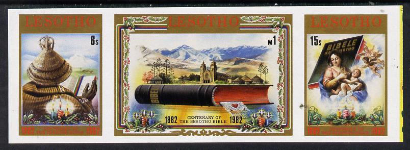 Lesotho 1982 Sesotho Bible unmounted mint imperf se-tenant strip of 3 (SG 518-20)