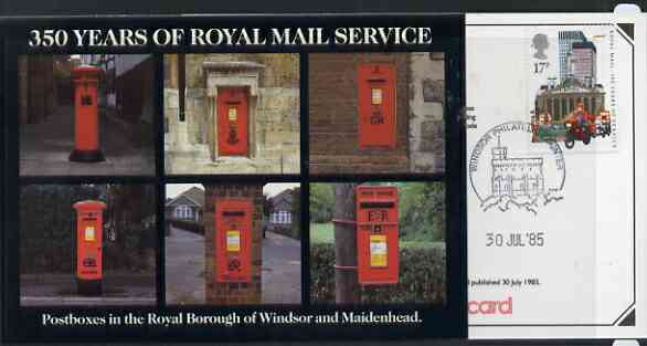 Postcard - Great Britain 1985 350 Years of Royal Mail Service - Postboxes in Windsor postcard (SEPR 44) used with first day of sale cancel
