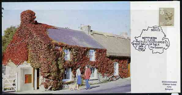Postcard - Great Britain 1988 Lisbane Post Office postcard (NIPB 2) used with first day of sale cancel