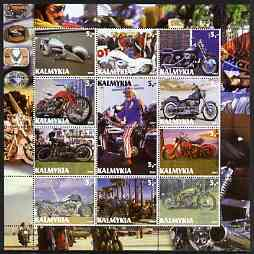 Kalmikia Republic 2003 Harley Davidson Motorcycles perf set of 12 values unmounted mint