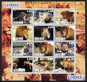 Komi Republic 2004 Lions perf sheetlet containing set of 12 values unmounted mint