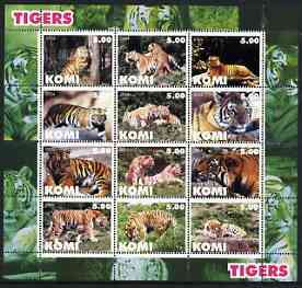 Komi Republic 2004 Tigers perf sheetlet containing set of 12 values unmounted mint