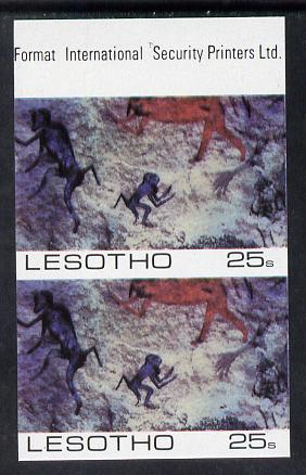 Lesotho 1983 Baboons (Rock Paintings) 25s value imperf pair unmounted mint (SG 541)