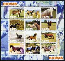 Komi Republic 2004 Horses perf sheetlet containing set of 12 values unmounted mint