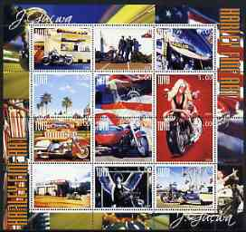 Touva 2004 Motorcycles - Harley Fine Art perf sheetlet #1 containing set of 12 values unmounted mint
