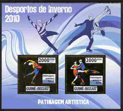 Guinea - Bissau 2010 Winter Olympic Sports - Figure Skating perf sheetlet containing 2 values in gold unmounted mint