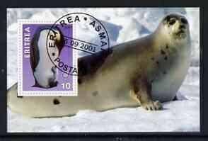 Eritrea 2001 Penguin & Seal imperf souvenir sheet (with Rotary Logo) fine cto used