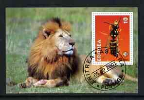 Eritrea 2001 Wasp & Lion imperf souvenir sheet (with Scout Logo) fine cto used