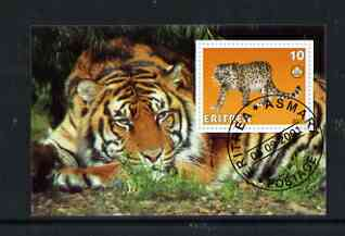 Eritrea 2001 Leopard & Tiger imperf souvenir sheet (with Scout Logo) fine cto used