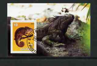 Eritrea 2001 Chameleon & Frilled Dragon imperf souvenir sheet (with Scout Logo) fine cto used