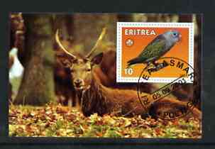 Eritrea 2001 Parrot & Deer imperf souvenir sheet (with Scout Logo) fine cto used