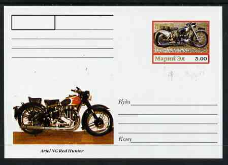 Marij El Republic 1999 Motorcycles postal stationery card No.03 from a series of 16 showing Douglas 90+ & Ariel NG, unused and pristine