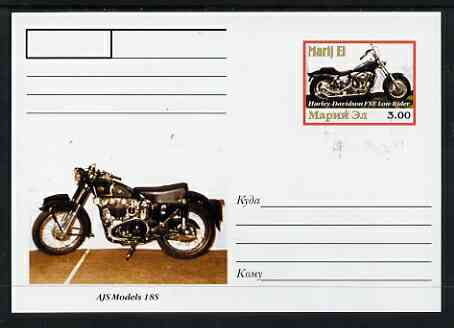 Marij El Republic 1999 Motorcycles postal stationery card No.09 from a series of 16 showing Harley & AJS, unused and pristine, stamps on motorbikes