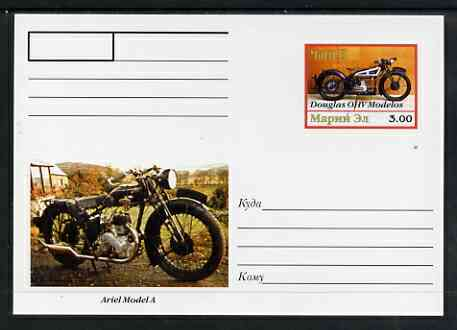 Marij El Republic 1999 Motorcycles postal stationery card No.16 from a series of 16 showing Douglas OHV & Ariel A, unused and pristine