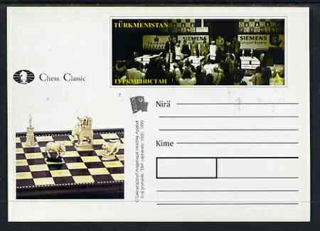 Turkmenistan 1999 Chess Classic postal stationery card No.1 from a series of 6 showing General view (long stamp) unused and pristine
