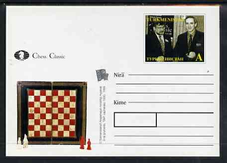 Turkmenistan 1999 Chess Classic postal stationery card No.4 from a series of 6 showing Two players, unused and pristine