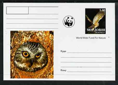 Mordovia Republic 1999 WWF - Owls #2 postal stationery card unused and pristine