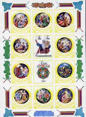 Lesotho 1984 Easter Ten Commandments sheetlet the set of 6 imperf progressive proofs comprising various single & multiple combination composites, extremely rare (as SG 579a)