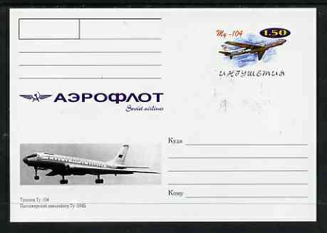 Ingushetia Republic 1999 Aeroflot Soviet Airlines postal stationery card No.03 from a series of 16 showing My-104, unused and pristine