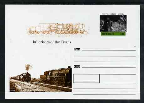 North Ossetia Republic 1999 Steam Locomotives #2 postal stationery card unused and pristine